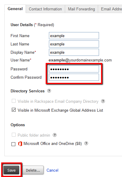 Change a Microsoft Exchange mailbox password
