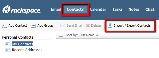 Import or export contacts in Rackspace Email