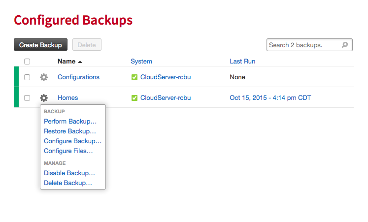 Cloud Backup backup actions