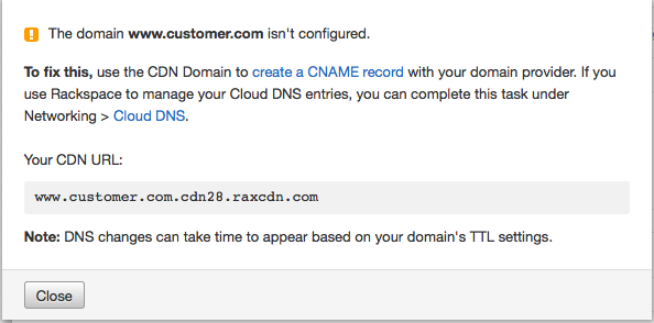 Add and manage domains in Rackspace CDN