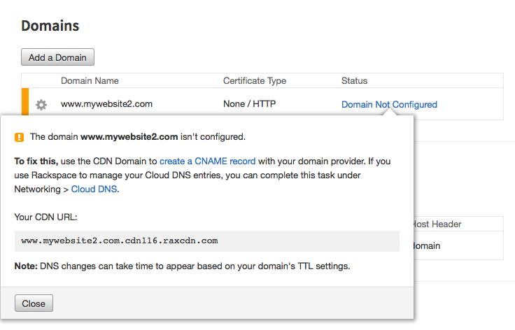 Change DNS to enable Rackspace CDN
