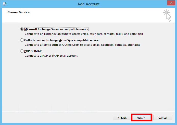 Manually configure Outlook 2013 for email hosted on Exchange 2013