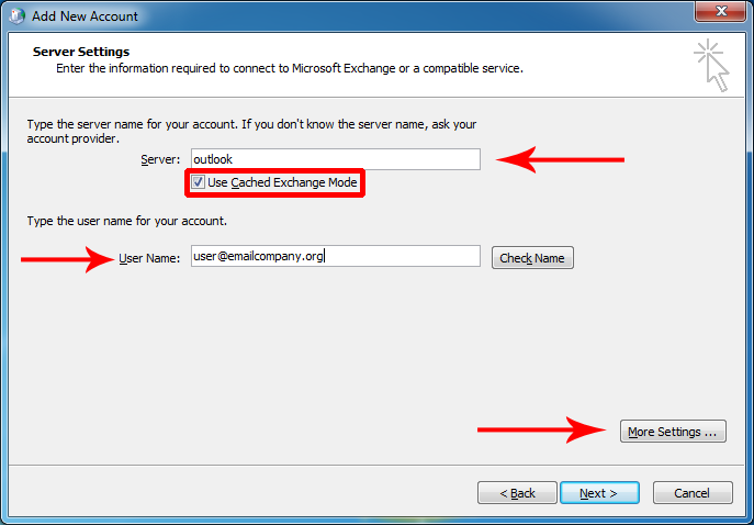 Manually configure Outlook 2007 for email hosted on Exchange