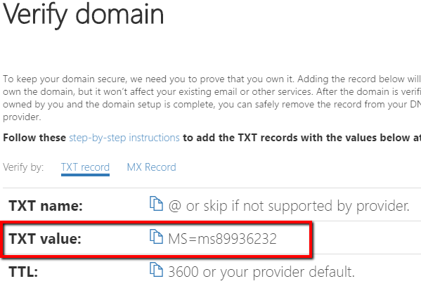 Add a domain in Office 365
