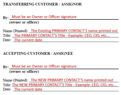 Signature section details, including Transferring customer (Assignor) and Accepting customer (assignee) information