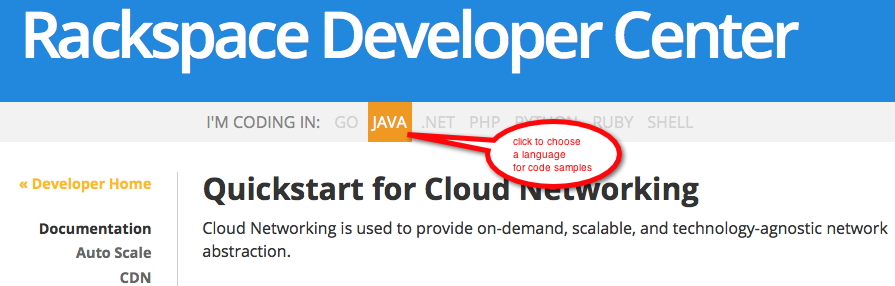 Java is one of several languages for which we publish an SDK QuickStart.