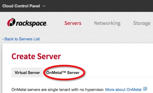 Click the OnMetal Server tab to begin creating an OnMetal server.