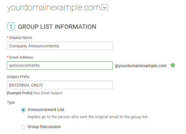 Add a Rackspace Email group list