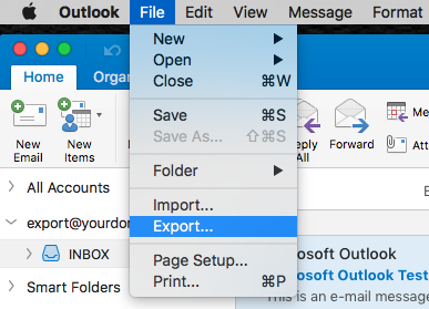 Export email address data from Outlook 2016 for Mac