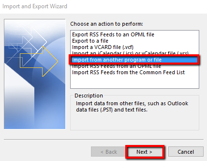 Import email address data into Outlook 2016 for Windows