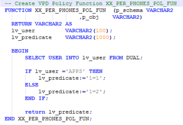 A screenshot showing the command used to create the VPD policy function
