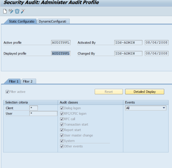 Activating the SAP Security Audit Log Feature
