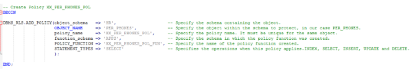 A screenshot showing the command that links the policy to the function