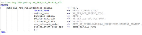 A screenshot of the command that adds the policy function to the VPD policy