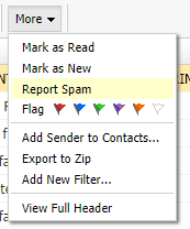 screenshot of webmail suspicious email report as spam